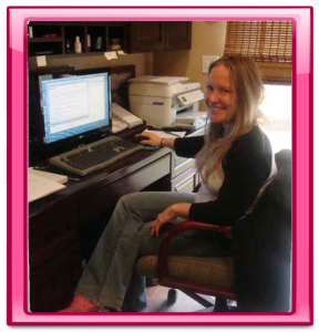 Ashley working in Pink Frame